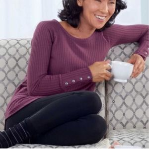 CHASER waffle knit cozy sweater raspberry small